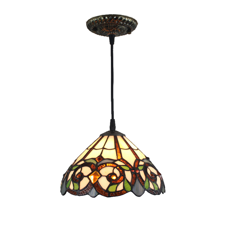 pl120009 12 inch tiffany style pendant lamp stained glass hanging