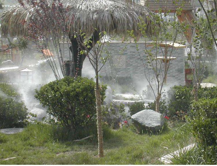 休闲广场园林喷雾人造雾景观案例