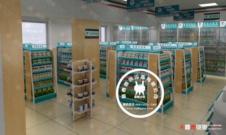 药店门头设计效果图_药店货架-药店装修风格效果图设计