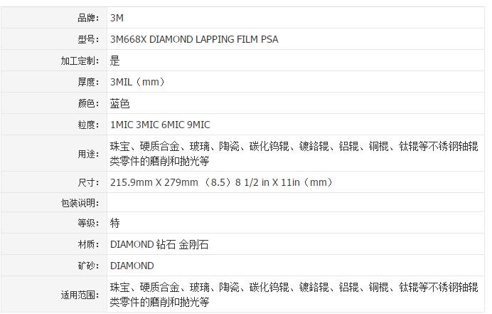 "3M 668X钻石研磨砂纸8.5""*11""*1mic金刚石砂纸"