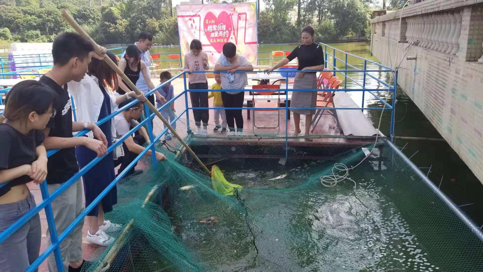 游客体验乐湖生态园捉鱼