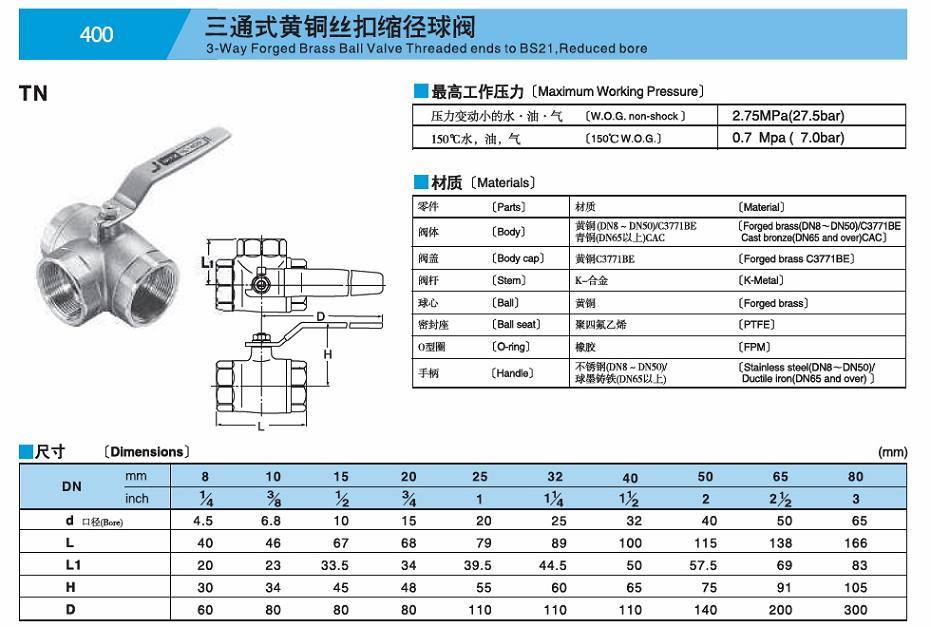 产品名称:TN400 黄铜丝扣三通球阀KITZ 球心阀 产品型号:TN400 使用温度:185℃ 压力等级:400(2.7Mpa) 适用介质:压力变动小的水·油·气 产品备注:日本KITZ阀门 销售单