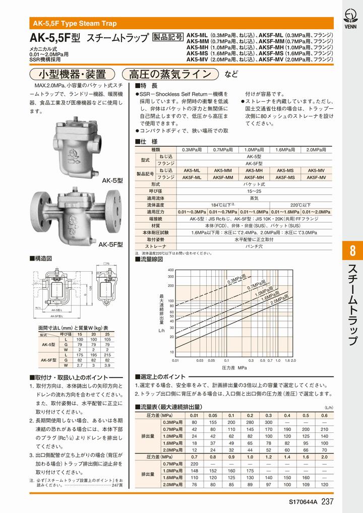 日本阀天AK-5F吊桶式法兰疏水阀