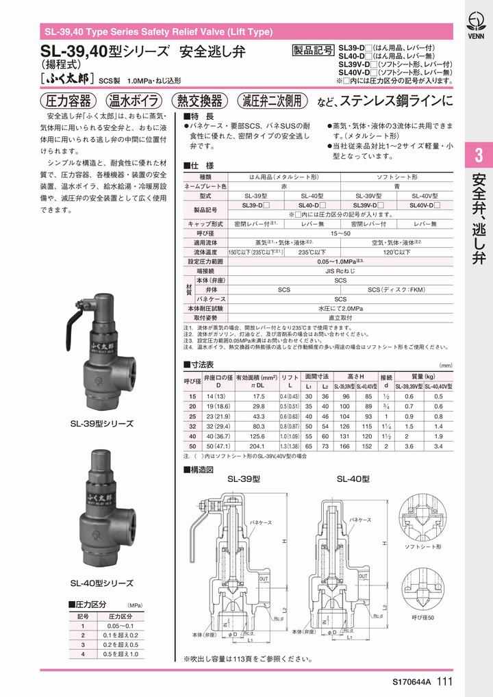 日本阀天SL-39型安全阀