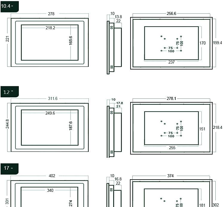 10mm工业显示器15