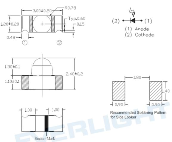 PD26-71B贴片接收管尺寸图