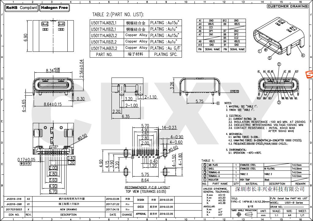 CFXY0T-B TYPE-C 14PIN板上式