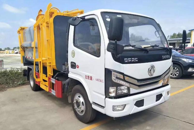 国六东风小多利卡蓝牌自装卸式挂桶垃圾车2