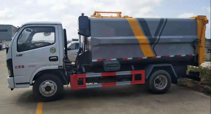 国六东风小多利卡蓝牌自装卸式挂桶垃圾车3