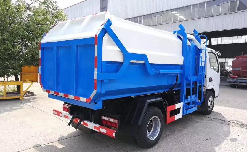 国六东风多利卡挂桶垃圾车4
