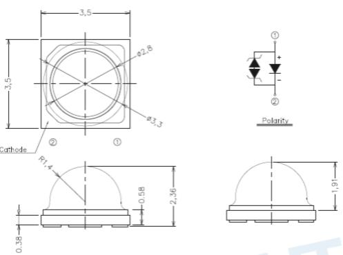 ELSWF大功率LED尺寸图