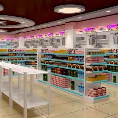 药店货架陈列,药店装修设计效果图