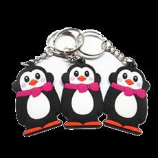 PVC软胶公仔钥匙扣  滴胶卡通企鹅钥匙链 可印刷LOGO