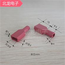 6.3mm硅胶护套250直扁形红色 插簧耐高温阻燃端子直插扁头绝缘套