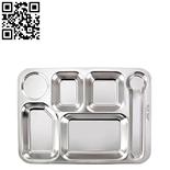304#不锈钢六格快餐盘(Stainless steel snack plate)ZD-KCP33