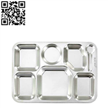 304#不锈钢七格快餐盘(Stainless steel snack plate)ZD-KCP34