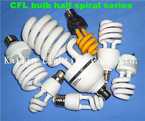 CFL half spiral bulbs