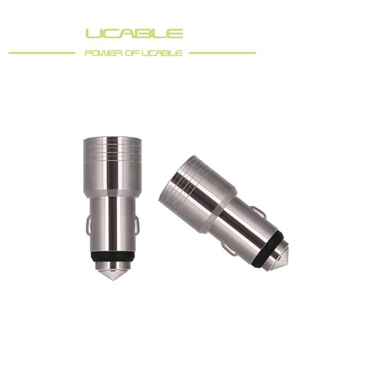 UCABLE品牌车充 快充车充 双USB车充 安全锤车充 不锈钢车充厂家