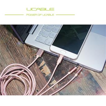 UCABLE一拖三数据线 iPhone7安卓Type-C三合一手机合金尼龙充电线