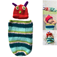 Aiviai Baby Infant Newborn Photograph Props Caterpillar Style Handmade Crochet Beanie Clothes