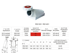 工业插座RS1351(RS1451)