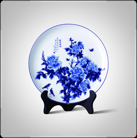 高端禮品和瓷 富貴滿堂盤(陶瓷盤)-1002