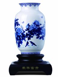 高端礼品和瓷《荣华富贵》花瓶-1002