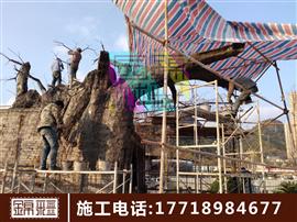水泥假樹制作 假樹大門施工 仿真榕樹大門制作