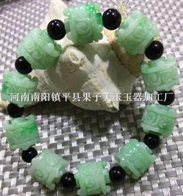 翡翠A货满绿带工艺手链
