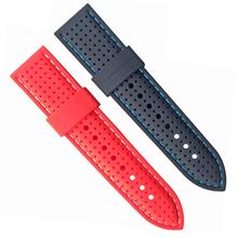 456-24MM时尚设计新表带透气加车线硅胶表带。