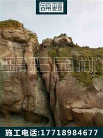 水泥護坡假山施工 假山瀑布制作水泥仿真石塑石跌水瀑布