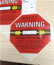 国产冲击指示器DAMAGE X防震动标签