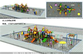 厂家供应水上组合滑梯儿童乐园戏水小品游泳池产品