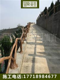 水泥仿木欄桿施工 水泥假樹制作仿真樹欄桿  手工仿木涼亭花架