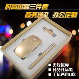 蘋果無線鼠標+8G手機兩用u盤+正姿簽字筆—1637