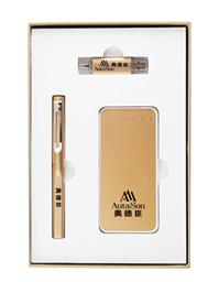 5000毫安土豪金電源+8G手機兩用u盤+正姿簽字筆 -1367