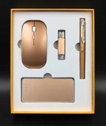 5000毫安電源+蘋果無線鼠標+8G手機兩用u盤+正姿簽字筆 -1367