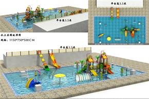 水上乐园组合滑梯戏水小品卡通喷水