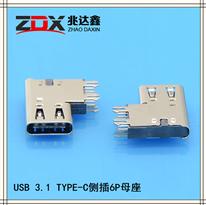 3.1 USB TYPE-C�P式�炔�6P母座-加高款