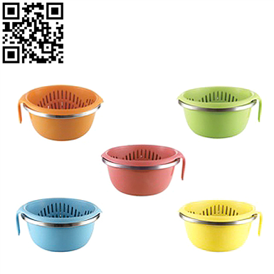 塑鋼瀝水盆籃2件套(Plastic steel drain basin basket set of 2)ZD-ZYP13