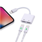 2 in 1 Dual Lightning Audio Adapter Charger Splitter For iPhone X XS