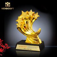 WB-JS1938五角星高檔設計冠軍獎杯,五連五角星合金獎杯,自定義主題定制獎杯,深圳市文博工藝制品有限公司定制
