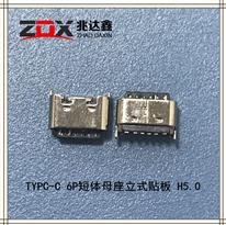 USB3.1 TYPC-C 6P短�w母座立式�N板 H5.0
