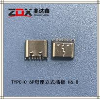 USB3.1 TYPE-C 6P母座立式插板 H6.8