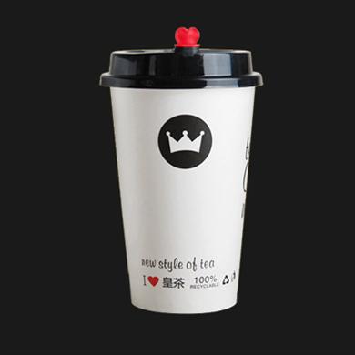 90口径单层纸杯500ml定制皇茶杯带盖