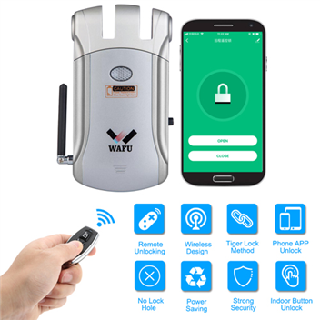 WAFU APP Remote Control Door Lock, WIFI Invisible Smart Security Door Lock(WF-008W) 315Mhz