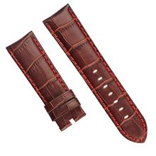 棕咖色国内头层仿鳄鱼皮竹节纹真皮表带 三和兴表带