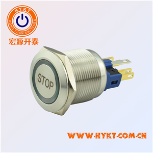 22mm带灯金属按钮开关PBM22-13Z-FS-RG24-S5S(X3)STOP符号
