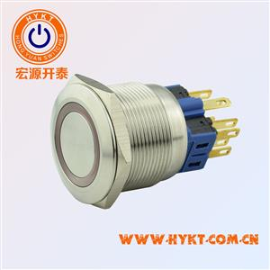 22mm带灯金属按钮开关PBM22-23Z-FS-RR12-S5S(X3)