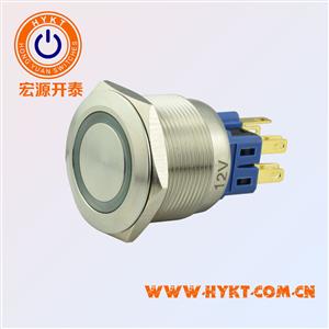 25mm金属按钮开关-自锁防水防爆金属按钮PBM25-23Z-FS-RG12-S5S(X3)带灯-灯色多选